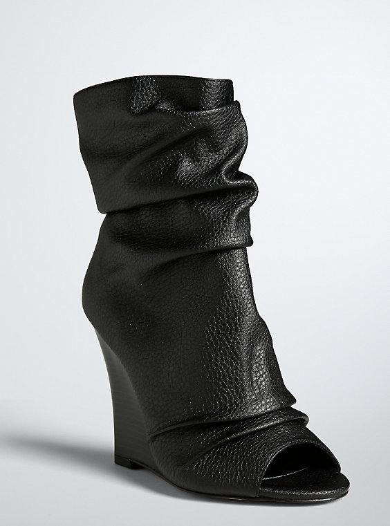 Plus Size - Peep Toe Wedge Booties (Wide Width) - Torr