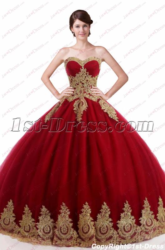 Vackra Burgundy 2018 Quinceanera-klänningar Puffy: 1st-dress.c