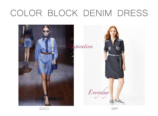 Gucci vårsommar 2015 Colorblock denimklänning Inspiration.