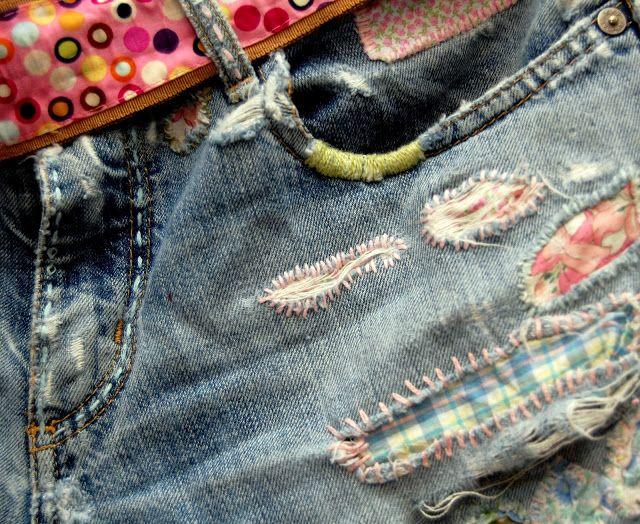 """Vid sätet för mina byxor!  """"  Hur lappar man jeans, Upcycle-kläder."""