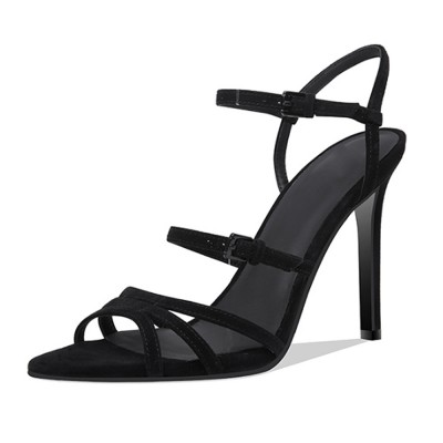 Häl sandaler för kvinnor, kors snörning högklackade skor med.