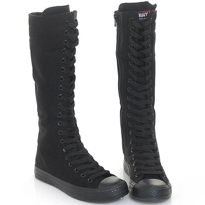 Köp Långa Canvas Stövlar svart vit färg Knee High Sneakers Dam.