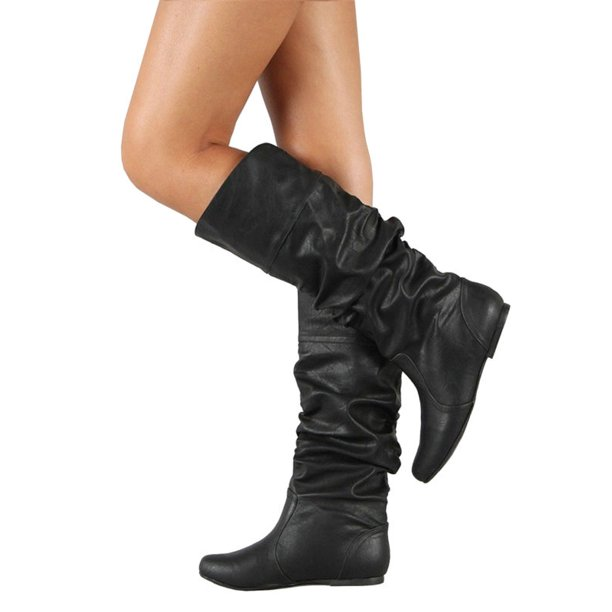 Wodstyle - Kvinnor Slouch Mid-Calf Boots Ladies Flat Slip On Knie.