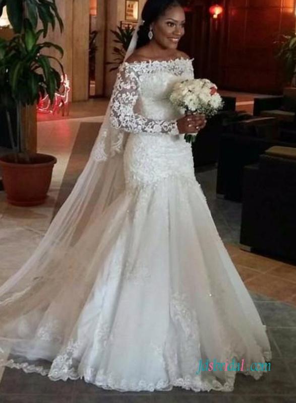 H1001 Romantik utanför axeln spetsar långa ärmar sjöjungfru bröllop.