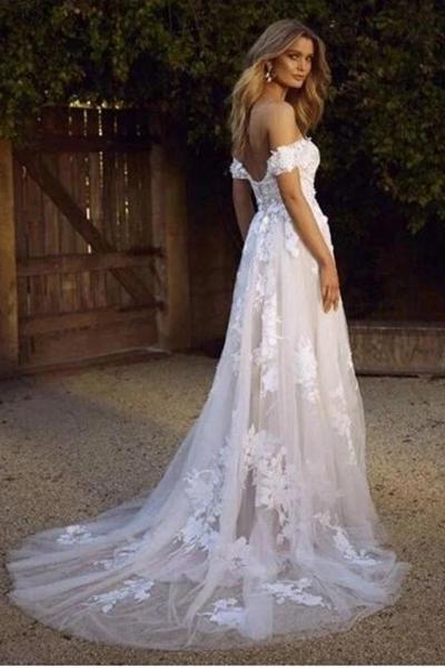 Vit Off Shoulder Tyll Spets Appliqued Beach Bröllopsklänning.