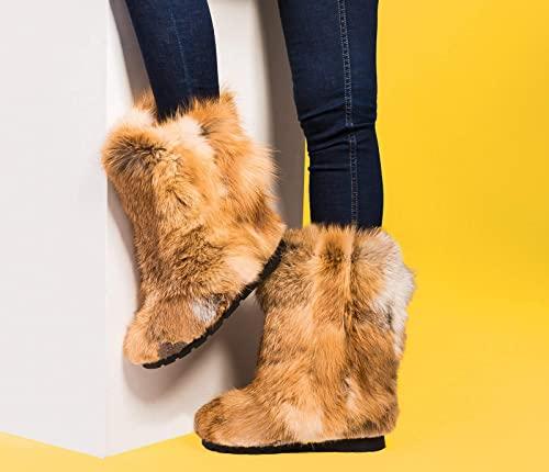 Amazon.com: Brun Fox Fur vinterstövlar för kvinnor: Handma