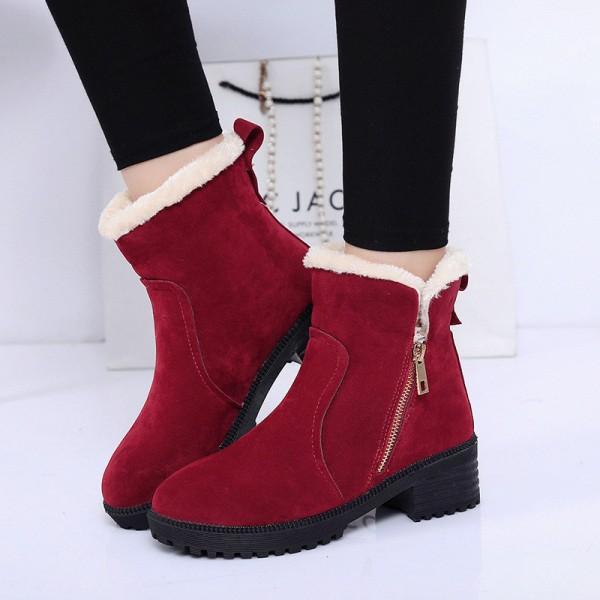 Köp Mode Kvinnor Vinterstövlar Kvinnliga Snow Plush Ankle Boots Flock.