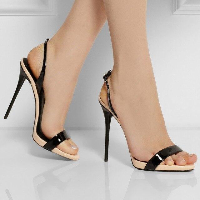 Black Open Toe Stilettos - Mode klänning