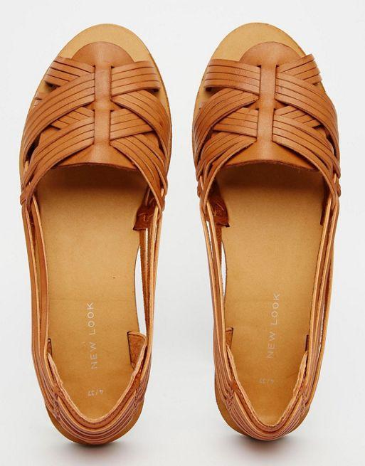 ny look hawaii gelé silver platta sandaler, New Look vävda Peep Toe.