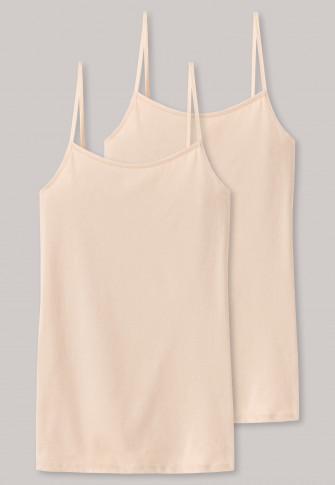 Spaghettitoppar 2-pack naken - Cotton Essentials |  SCHIESS