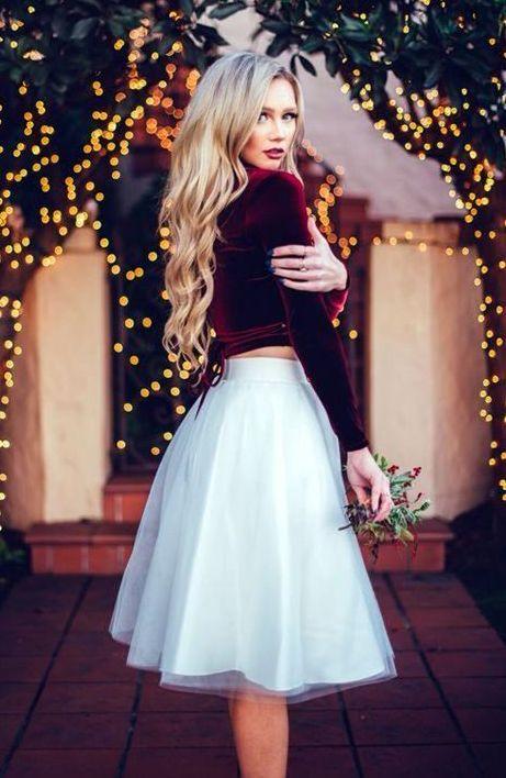 Sammetstopp och vit kjol |  Julmodekläder, jul.
