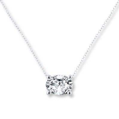 Diamond Solitaire Necklace 1 karat Oval 14K vitguld |  Solitaire.