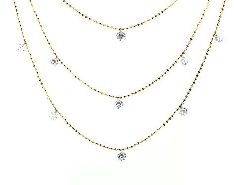 halsband, diamanthalsband, 14k gult guld trippel lager genomborrat.