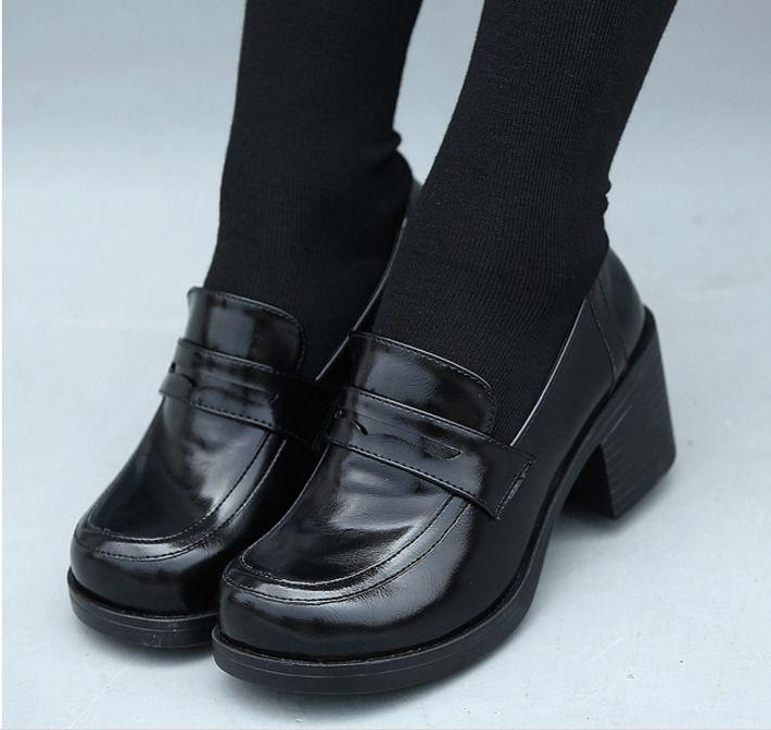 Hot Womens Bloclk Heels Shoes Japanese School Girls Slip On Brogue.