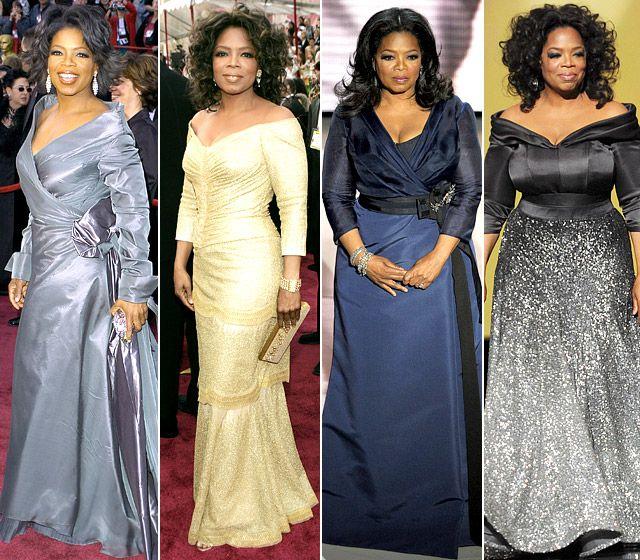 Stars 'Evolving Oscars Looks |  Oprah winfrey-stil, mode, Oprah.