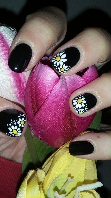 Mörk vår |  Fantastisk vårnageldesign för korta naglar |  Lätt .