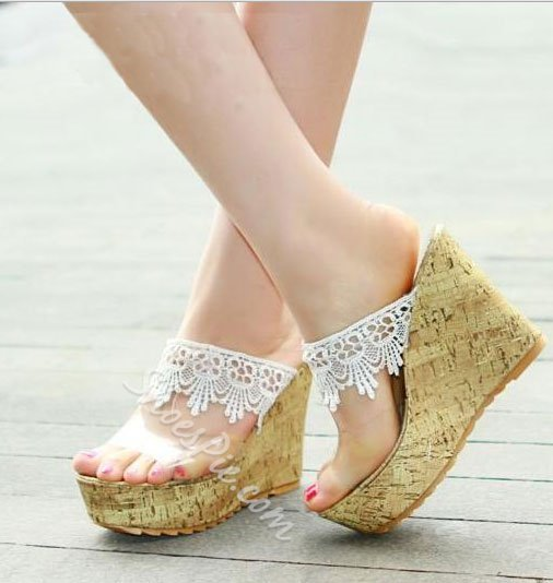 Söt spets kilklackar plattform tjej sandaler tofflor- Shoespie.c