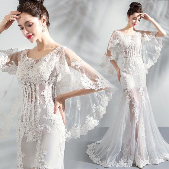 Snygga / vackra vita strandbröllopsklänningar 2018 Trumpet.