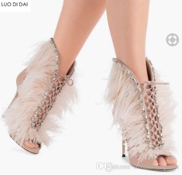 2019 Nya sexiga damer Peep Toe stövlar Gladiator sandaler sommar stövlar.