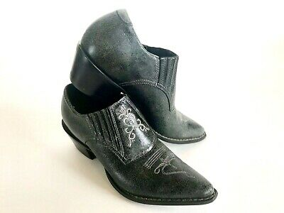 Durango Charcoal Western Ankle Leather Booties Women's 7 Pointy.
