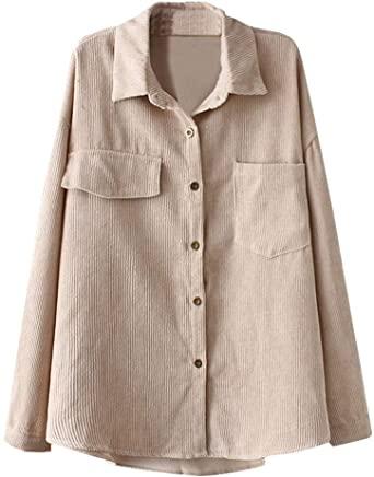 Ladyful Kvinnor Corduroy skjorta kavaj Lapel Button Down Långärmad.