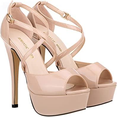 Amazon.com |  ROMANTIC ROAD Heels för kvinnor, 5.5IN High Heels för.