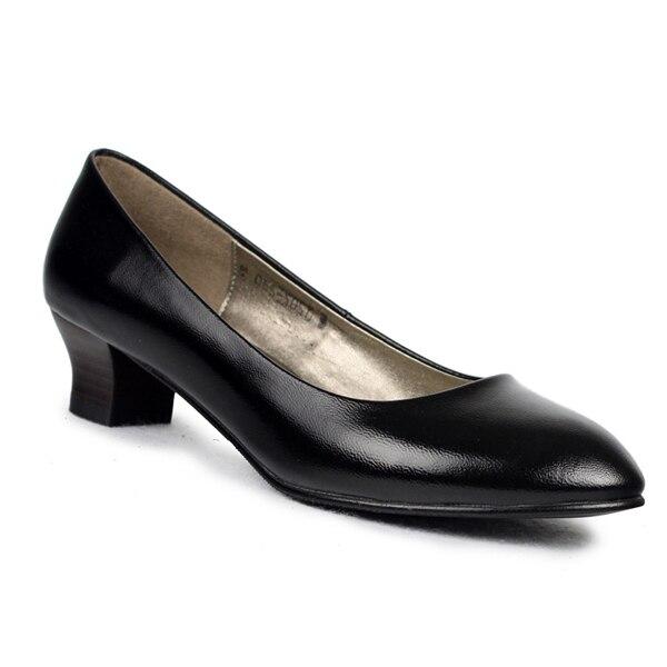 Äkta läder mode kvinnor spetsiga häl klänning skor klänning skor.