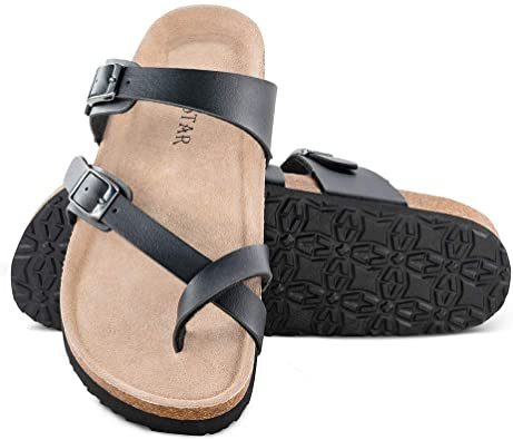 Amazon.com |  Mayari lädersandaler, justerbar platt casual.