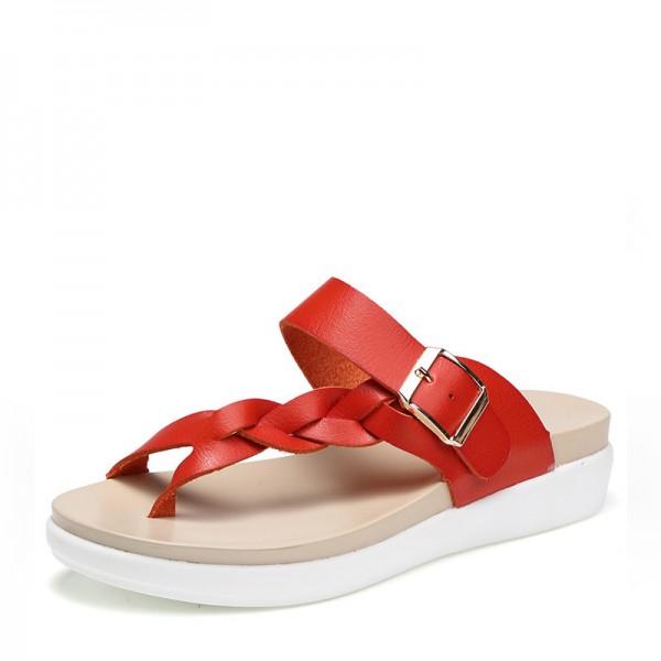 Köp sommar sandaler tofflor för kvinnor äkta läder damskor.