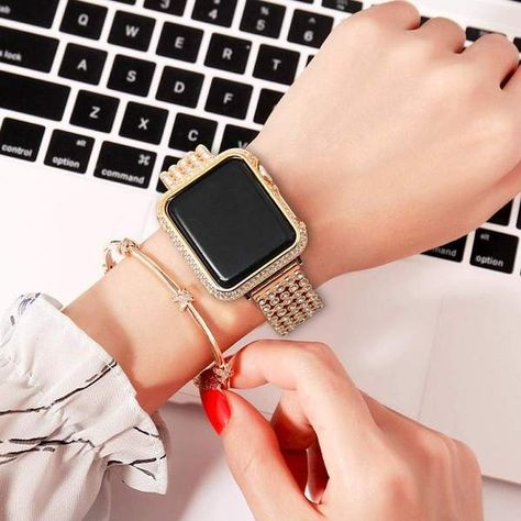 Apple Watch fodral, 18kt guld bling lab diamant look.