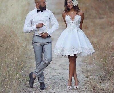Spetsapplikation Sexig kort mini spets bröllopsklänning brudklänning.