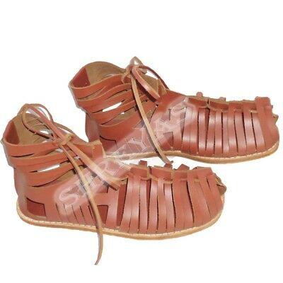 Medeltida renässans Romersk läder Brun Caligae sandaler rustning.