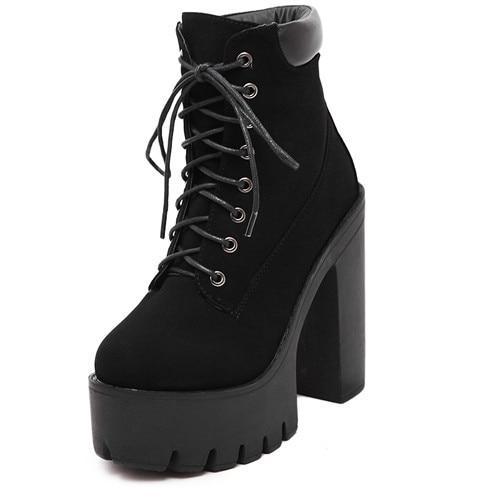 Gdgydh Fashion Spring Autumn Platform Ankle Boots Dam snörning.