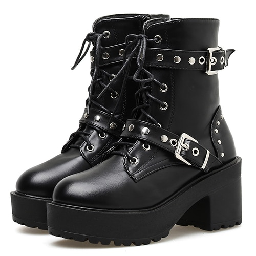 Gdgydh Sexy Rivet Autumn Boots Kvinnor Plattform Stövlar Svart Läder.