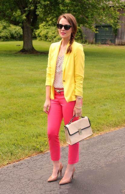 Gult och rosa kombinationsmode    Kombination mode, Neon.