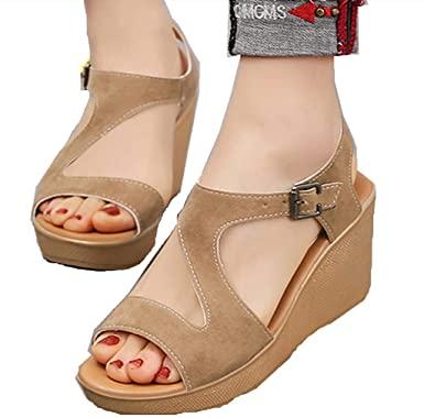 Amazon.com: POPNINGKS Kvinnors sommar sandaler Kvinnors kilskor.