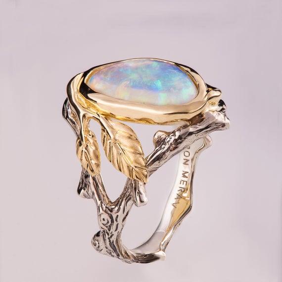 Twig and Leaf Förlovningsring Opal förlovningsring Unik |  Et