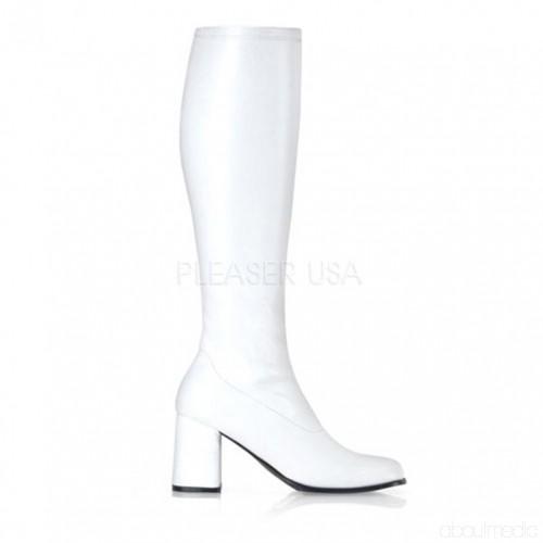 White Stretch Block Heel GoGo Boots Stövlar Katalog: damvinter.