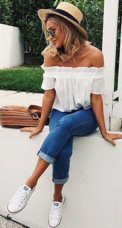 Trendiga och flickaktiga sommaroutfitidéer med jeans (med bilder.