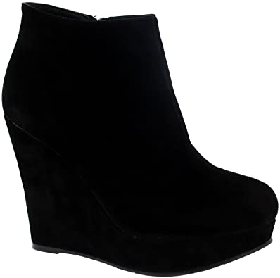Amazon.com |  Viva Womens High Wedge Heel Black Party Ankle Boot.