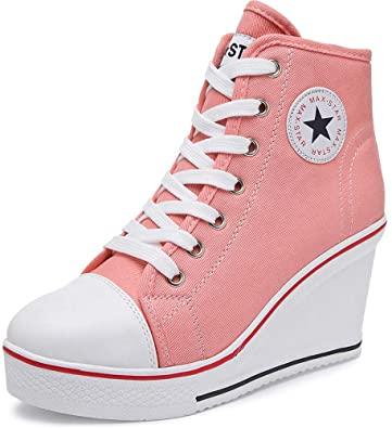 Amazon.com    High Heel Canvas Wedge Sneakers - Trendiga och bekväma.
