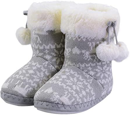 Amazon.com |  Flickor Tofflor Boot Bedroom Bootie Shoes för vintern.