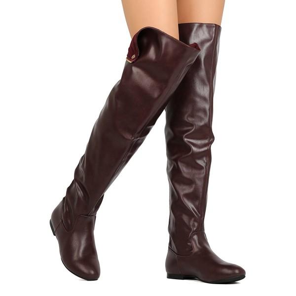 Kvinnor över knäet Flat stövlar Snap manschett tillbaka blixtlås mode lång.