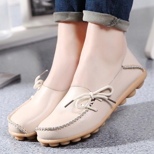 Ladies Flat Low Wedge Loafers Shoes Ladies Slip On Women - Kankon