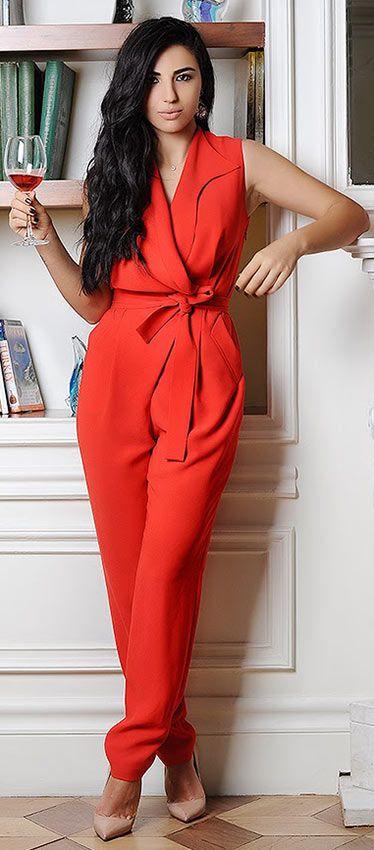 21 bekväma och snygga idéer för Thanksgiving-outfit |  Röda jumpsuits.