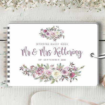 Personlig bröllopsgästbok, frostat ros, tom meddelandebok.