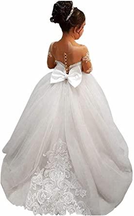 Amazon.com: GZY White Ivory Lace Long Sleeve Flower Girl Dresses.