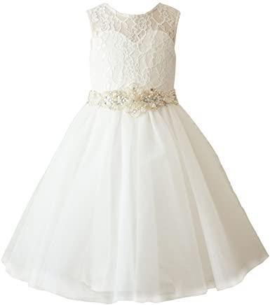 Amazon.com: Miama Ivory Lace Tulle Wedding Wedding Girl Dress.