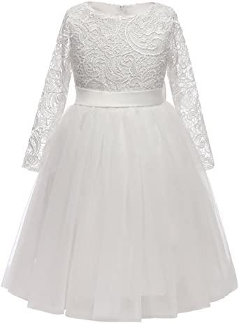 Amazon.com: Flower Girl Dress långärmad spets topp tyll kjol.