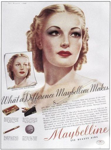 Autentisk 1940-talssminkhistoria och handledning |  Vintage smink annonser.